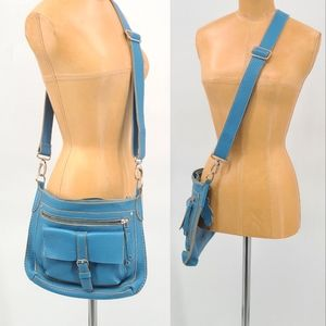 Roots Canada Light Blue Crossbody Leather Bag